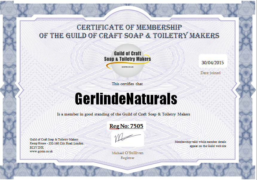 Certificate of Membership of the Guild of Craft Soap and Toiletry Makers