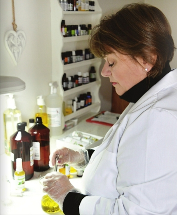 Gerlinde at work in the Lab